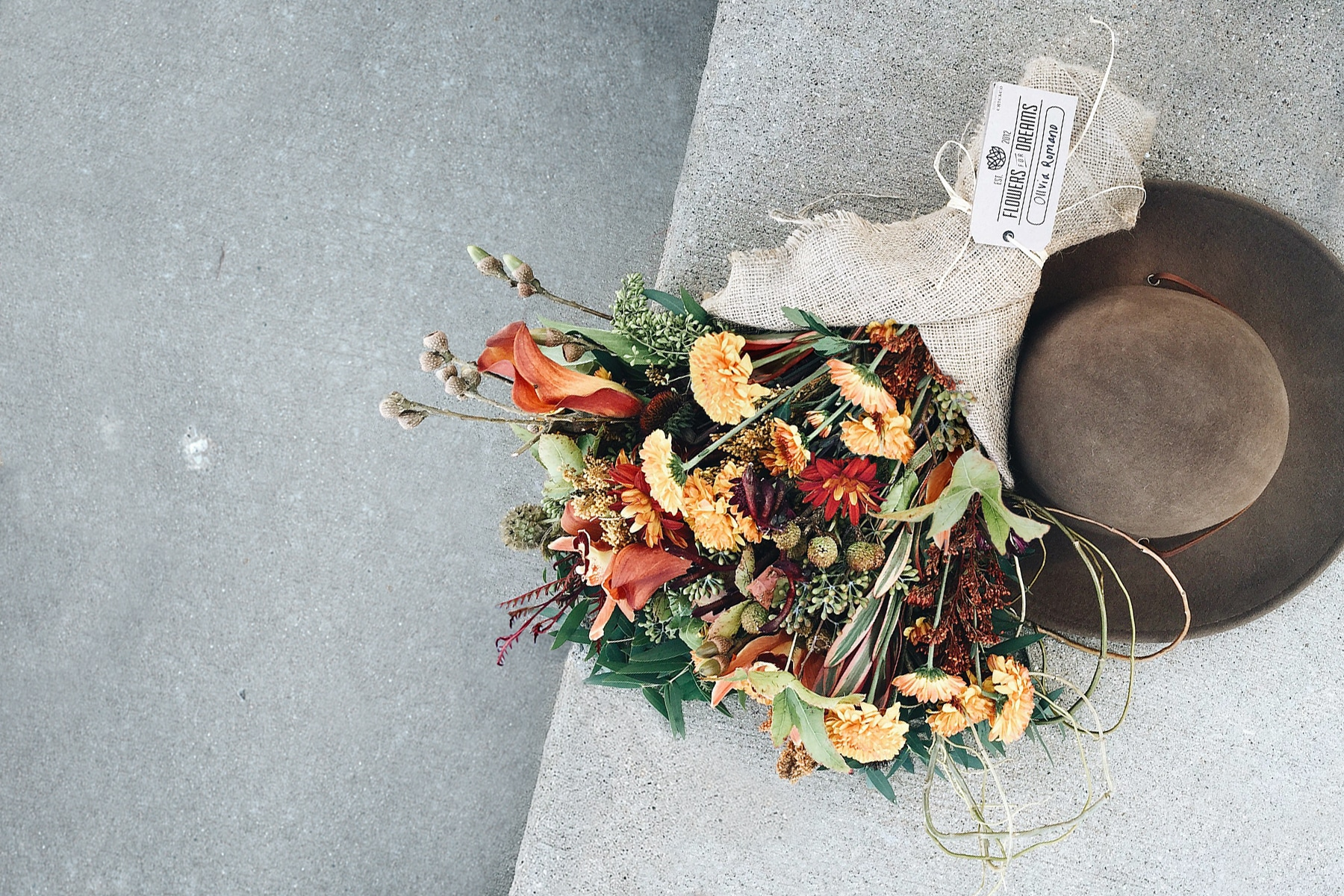 Fall flowers wrapped in burlap