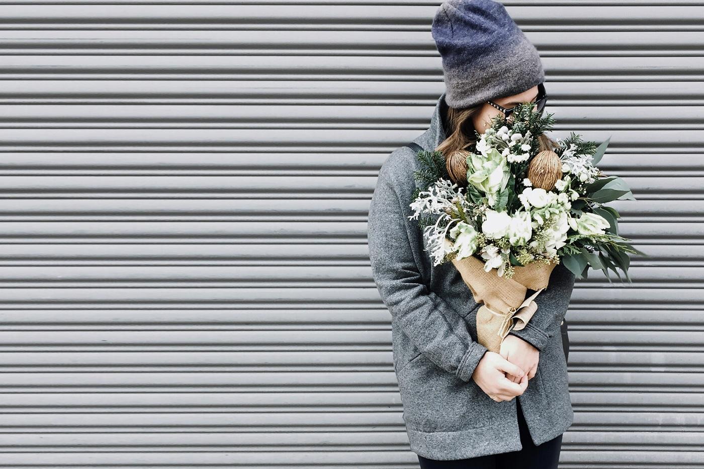winter themed bouquet